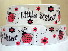"1 m x  7/8"" Pink Ladybug w/- Glitter Wings Little Sister White Grosgrain Ribbon"