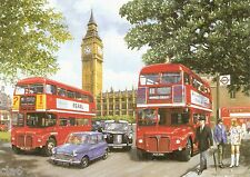 Mini London Taxi FX4 AEC Routemaster Bus Blank Greetings Card  Parliament Square