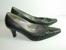 WOMENS BLACK LEATHER PUMPS COMFORT CAREER HIGH HEELS SHOES SIZE 7.5 8 M UK 5
