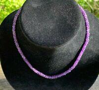 "JTV 18"" Amethyst graduated rondelle beaded single strand rhodium silver necklace"