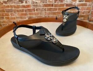 FitFlop Black Jewel Lainey Slingback Toe Post Sandal New Thong