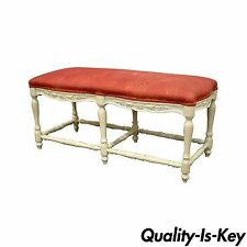 Vintage French Country Style White Carved Wood 6 Leg Window End of Bed Bench