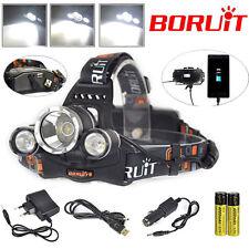 BORUiT RJ-5000 13000LM Headlamp XM-L T6+2R5 LED Headlight+AC/Car/USB Charger Kit