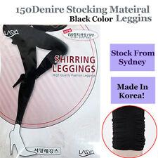 150D Black High Tension Stocking Shirring Leggins Footless -Made in Korea
