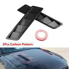 2X Race Car Hood Air Vent Louver Cooling Panel Trim Carbon Pattern Black ABS