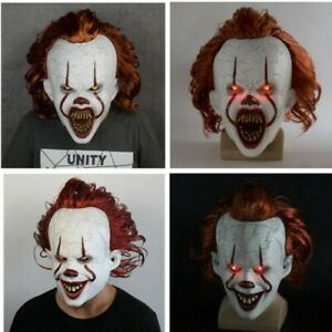 2019 PENNYWISE Clown Masks Scary Adult Bloody Face Mask with LED Costume