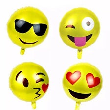 2Pc Happy Birthday Emoji Mylar Balloons Yellow Smiley Faces Emotions Party Decor