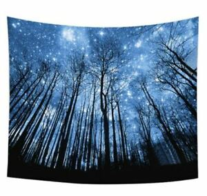 """NEW Night Time Psychedelic Trees Forest Tapestry Wall Hanging Stars Sky 90""""x70"""""""
