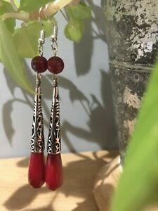 Beautiful 14ct Gold Filled Freshwater Pearl /& Red Agate Drop Earrings Gemstone Jewellery Jewelry UK Seller