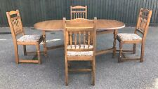 Drop Leaf Dining Table + 4 Chairs In Medium Oak Made By New Plan