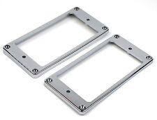 Humbucker Pickup Ring Set Plastic CHROME Neck & Bridge - Flat & Tapered/ Slanted