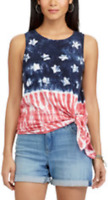 Chaps Womens Plus Size Cotton Blend American Flag Tank Top NWT $56 Choose Size