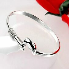 New Silver Plated Dolphin Clasp Bangle Bracelet Fashion Jewelry