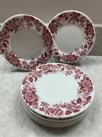 "Vintage Jackson Vitrified China Restaurant Ware Red Flower 6-5 1/2"" Bread Plates"