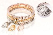 Fashion Jewelry Gold/Silver/Rose gold hollow Leave Bracelet Bangle cuff 3Pc/set