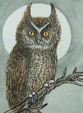 Oriental Art ACEO Original chinese Painting lovely owl