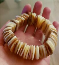 Natural Peruvian Mother of Pearl Shells Stretch Bracelet From Pacific Ocean