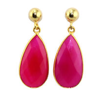 Pear Designer Pink Chalcedony With Top Ball 24k Gold Plated Drop Dangle Earring