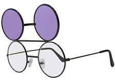 Purple Dwayne Wayne Glasses Round Flip Up Sunglasses Black Frame 90's