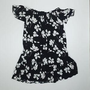 Papaya Black And White Floral Bardot Short Sleeve Summer Dress UK 12 Holiday