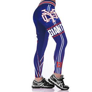New York Giants Blue Fans Women Jogging Pants GYM Yoga Running Fitness Leggings
