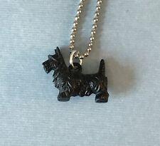 """Vintage Miniature Celluloid Black Scottie Dog Scotland Terrier Pendant 18"""" Chain"""