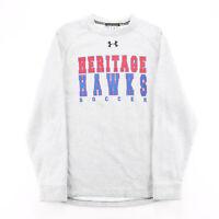 Vintage UNDER ARMOUR Soccer Grey Sports Crew Neck Sweatshirt Mens S
