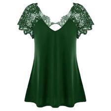 Women's Casual V-Neck Lace Trim T-Shirt Loose Short Sleeve Plus Size Tops Blouse