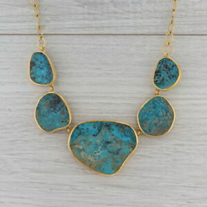 """New Nina Nguyen Turquoise Statement Necklace Sterling Gold Vermeil 20"""""""