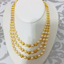 Bollywood Indian Jewellery Ethnic  Pearl Multi Layer  Women Wedding Necklace