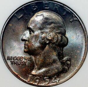 1954 Washington Quarter Gem BU 25c ~~Beautiful Toned ~~ NGC MS66