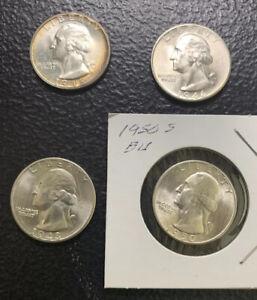 1944S, 46S, 48S & 50S 25C / Nice BU Washington Quarters / Nice & *No Reserve!