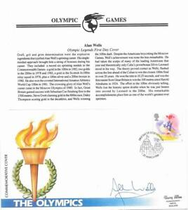 1988 Alan Wells Signed UK Olympic Sports Stamp First Day Cover