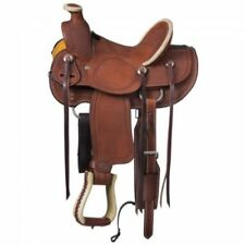 """Western Brown Roper Ranch Hand Tooled and Carved 16"""" Saddle"""
