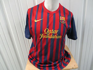VINTAGE NIKE FC BARCELONA XL SEWN RED BLUE DRI-FIT JERSEY 2011/12 KIT PREOWNED
