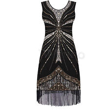1920s Flapper Dress Costume Vintage Great Gatsby Charleston Fancy Fringe Dresses
