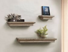 Decorative Wall Shelf Set Grey Wash Finish of 3 pcs
