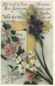 Joy at Easter: vintage postcard, pu 1912 to Andrews London Colney Herts