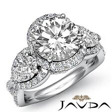 Round Pave Set Diamond Three Stone ngagement Ring GIA F VS2 14k White Gold 2.5ct