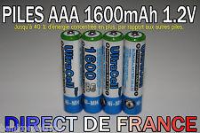 4 Piles AAA Rechargeable 1600mAh 1.2V ULTRA NIMH R3 R03 LR3 LR03 Batterie Accus