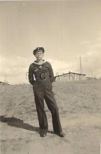 WWII German Navy RP- Kriegsmarine- Sailor- Blue Uniform- Hat- Stands Outdoors