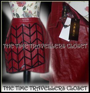 BNWT Virgos Lounge Red Leather Black Embellished Sequin Skirt Lined UK 10 38 6