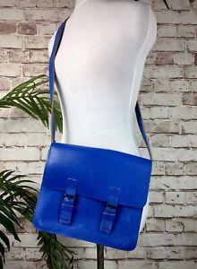 Barbara Wiggins TATE London Leather Bag Blue Handbag Cross Body Shoulder Satchel