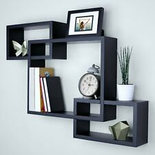 3 Cubes Intersecting Boxes Wall Shelf Home Deco Storage Wall Mount Shelves Black