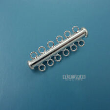 Sterling Silver Multi / 6 Strand Tube Slide Clasp Connector 33mm #33292