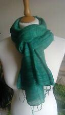 Emerald Green 100% Pure Thai Isaan Eri Silk Scarf Shawl. Handmade. Premium Grade