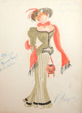1962 Retro woman dress costume design watercolor drawing signed
