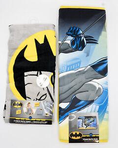 3 Piece Bath Set BATMAN DC Comics Bath Mat Towel Wash Cloth Superhero Kids Boy