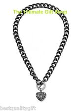 NEW GUESS HEMATITE TONE NECKLACE w/ PUFFED RHINESTONE HEART CHARM