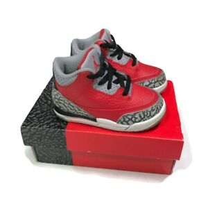 Toddler Nike Air Jordan 3 Retro Red Cement CQ0489-600 Shoes Size 6C Baby